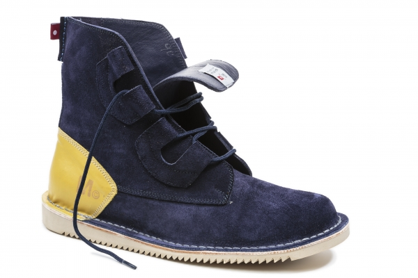 Navy Suede/Yellow Full Grain Heel